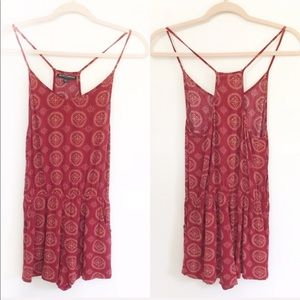 Brandy Melville Red Patterned Short Romper
